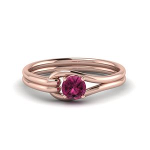 Pink Sapphire Loop Interlocked Solitaire Engagement Ring In 14K Rose Gold