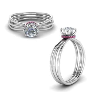 3 Strand Pink Sapphire Ring