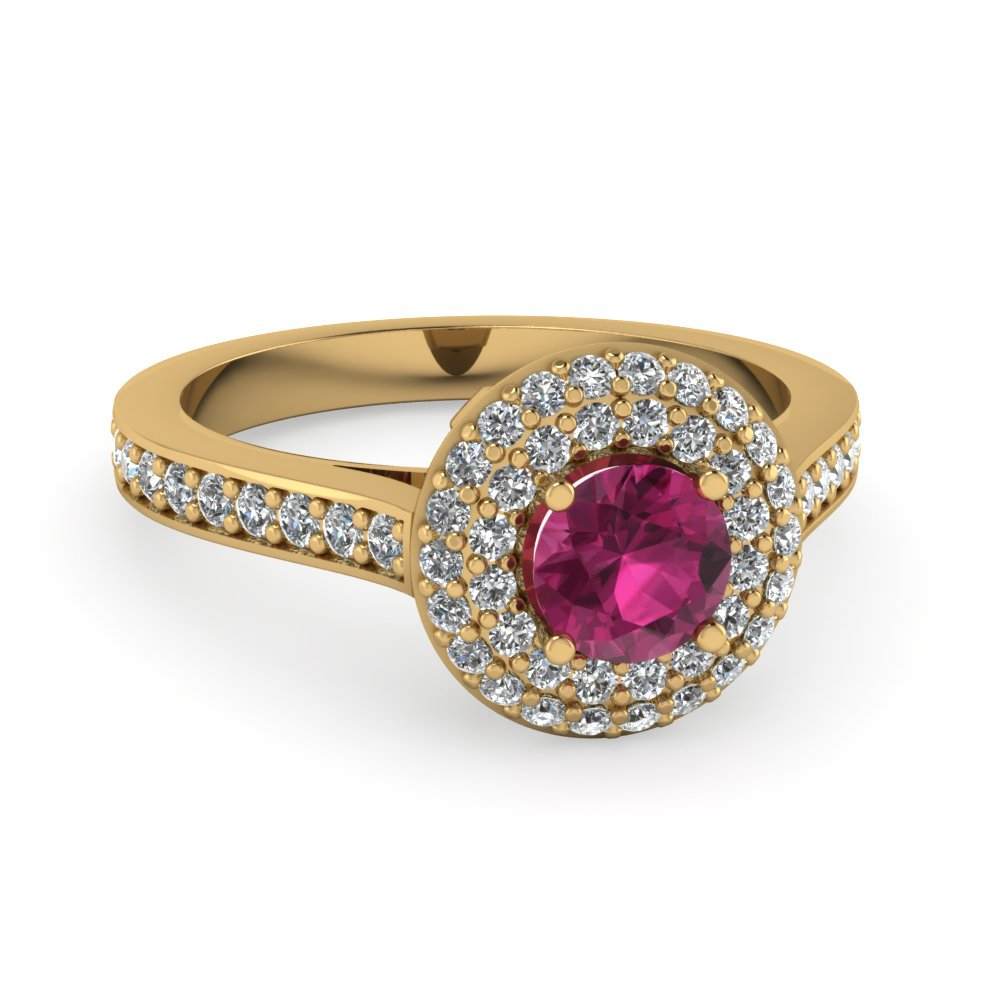 Pink Sapphire Halo Unique Diamond Ring