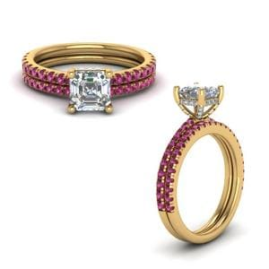 Pink Sapphire Prong Asscher Cut Diamond Petite Bridal Set In 14K Yellow Gold