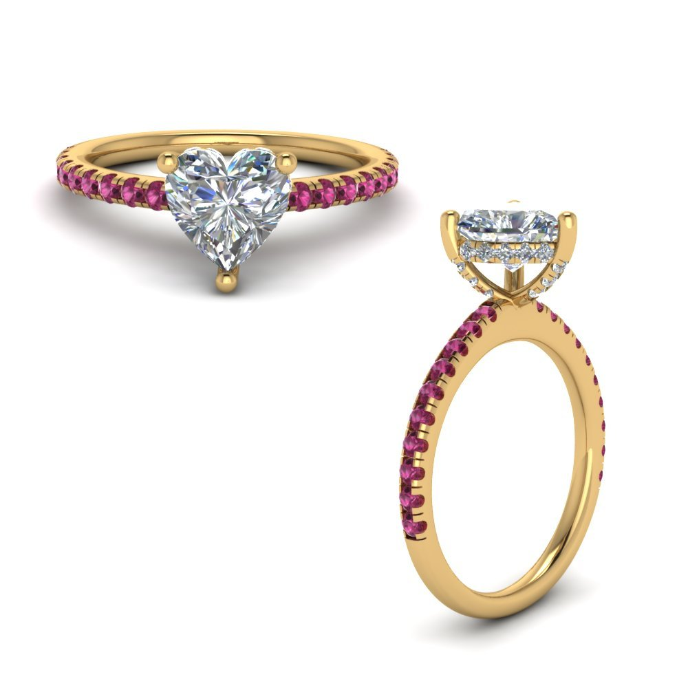 Pink Sapphire Prong Heart Shaped Diamond Petite Engagement Ring In 18K Yellow Gold