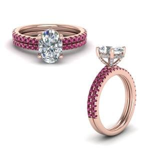Pink Sapphire Prong Oval Shaped Diamond Petite Bridal Set In 14K Rose Gold