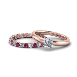 Pink Sapphire Solitaire Eternity Band Diamond Ring Gifts For Mom In 14K Rose Gold