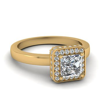 Plain Shank 0.75 Ct. Princess Cut Halo Diamond Ring