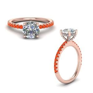 Poppy Topaz Diamond Prong Round Petite Ring In 14K Rose Gold