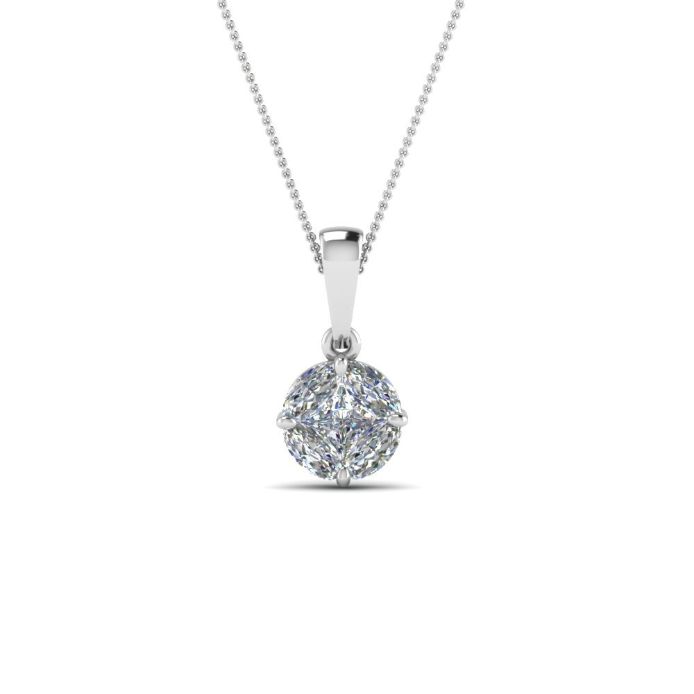 Pressure Set Solitaire Diamond Pendant In 18K White Gold
