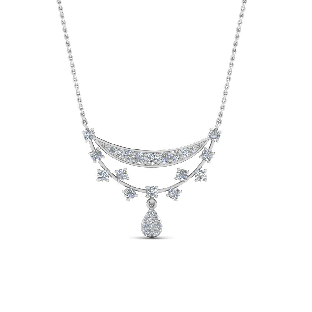 Pretty Diamond Necklace Gift For Women In 14K White Gold