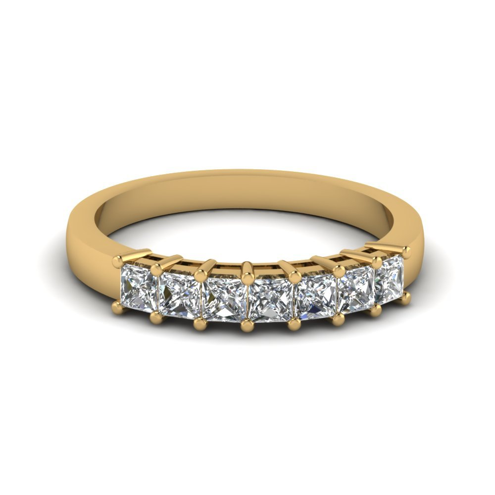 Princess 7 Stone Wedding Anniversary Band In 14K Yellow Gold