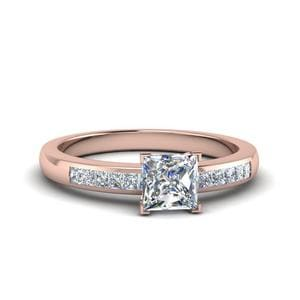 Channel Princess Cut Diamond Enagagement Ring In 14K Rose Gold