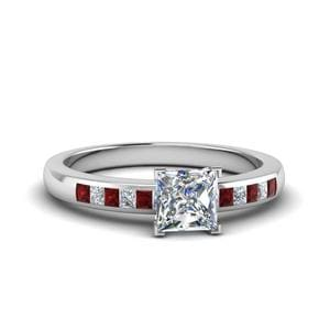 Channel Princess Cut Diamond Enagagement Ring With Ruby In 950 Platinum
