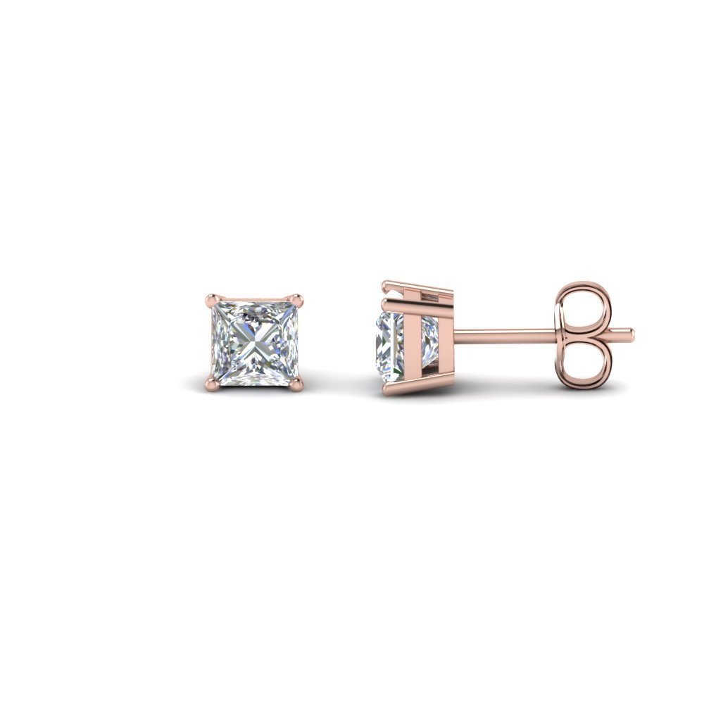 Princess Cut Earring 14K Rose Gold