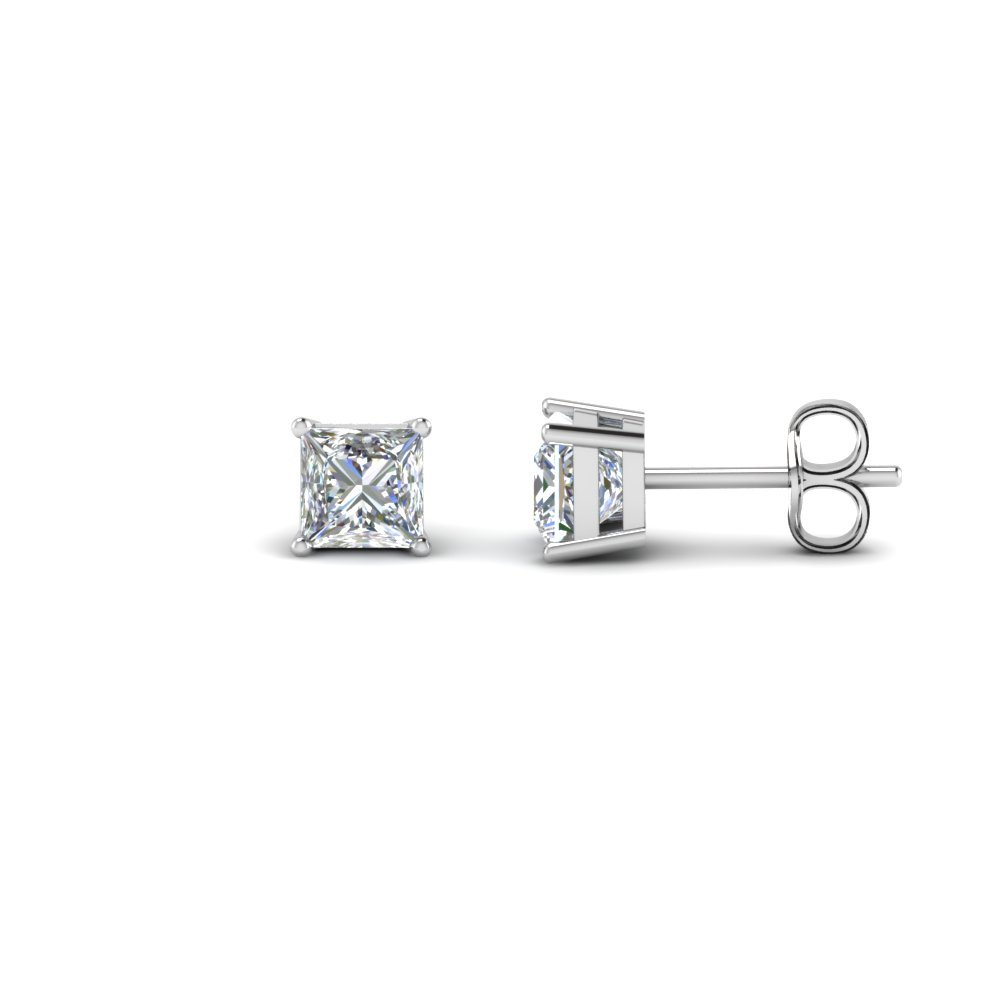14k White Gold Princess Cut Earring