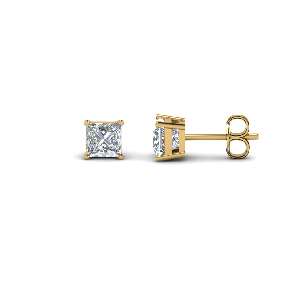 Princess Diamond Earring 18K Yellow Gold