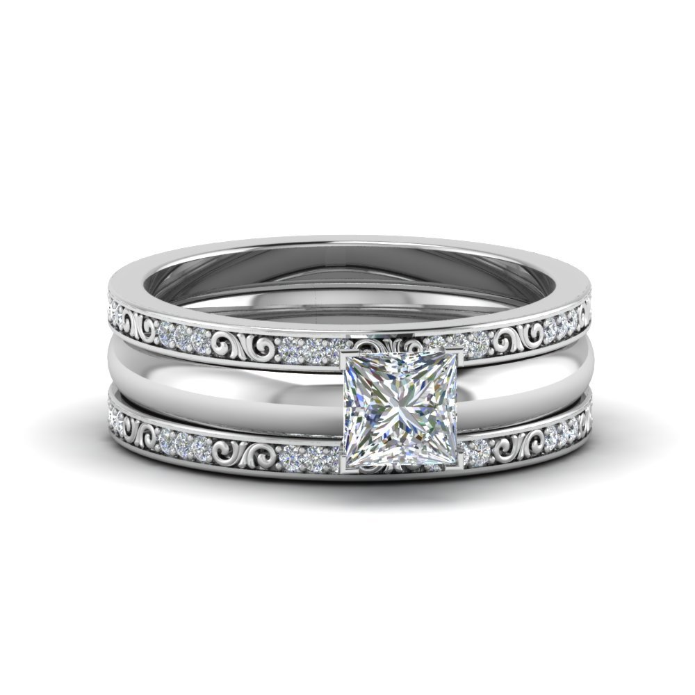 Platinum Princess Cut Filigree Bridal Set