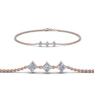 Princess Cut 3 Stone Bracelet In 14K Rose Gold