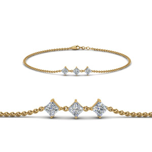 Princess Cut 3 Stone Bracelet In 14K Yellow Gold