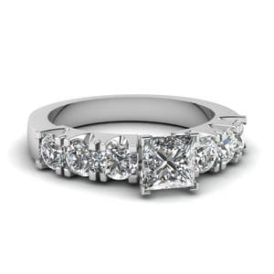 Princess Cut 7 Stone Shared Prong Diamond Engagement Ring In 14K White Gold