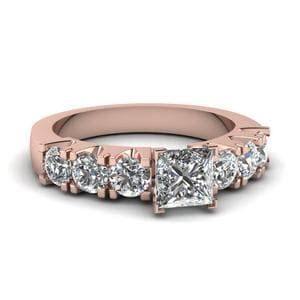 Princess Cut 7 Stone Shared Prong Diamond Engagement Ring In 18K Rose Gold