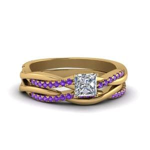 Purple Topaz Twist Bridal Ring Set