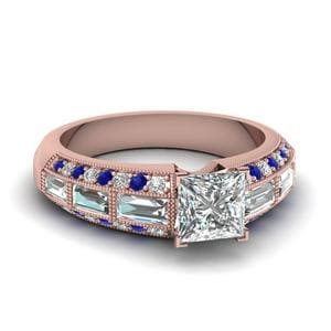 Antique Baguette Princess Cut Diamond Engagement Ring With Sapphire In 14K Rose Gold