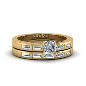 Princess Cut Bar Baguette Diamond Simple Wedding Ring Set In 14K Yellow Gold