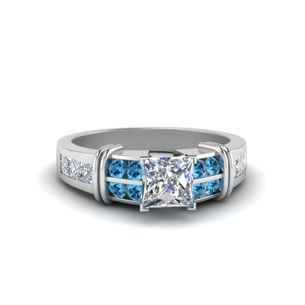 Princess Cut Bar Channel Set Wide Diamond Ring With Ice Blue Topaz In 18K White Gold