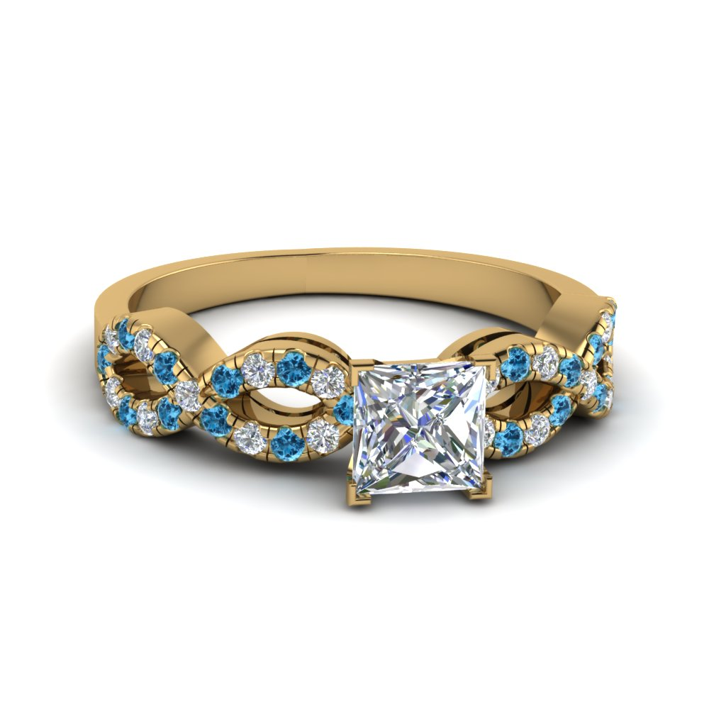 Princess Cut Braided Diamond Engagement Ring With Blue Topaz In 18K Yellow Gold