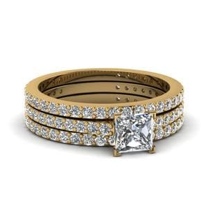 Princess Cut Trio Wedding Set