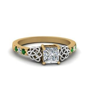 Celtic Princess Cut Ring With Emerald
