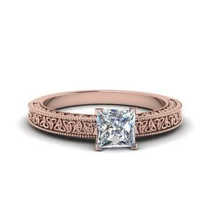 Princess Cut Celtic Engraved Solitaire Ring In 14K Rose Gold