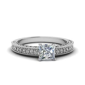 Celtic Engraved Princess Cut Solitaire Engagement Ring In 18K White Gold