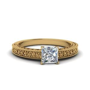 Princess Cut Celtic Engraved Solitaire Ring In 14K Yellow Gold