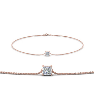 Princess Diamond Chain Bracelet In 14K Rose Gold