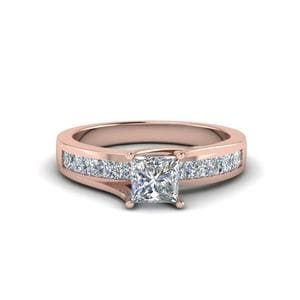 Princess Cut Channel Accent Diamond Engagement Ring In 14K Rose Gold