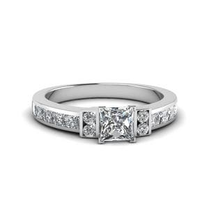 Princess Cut Channel Bar Set Diamond Engagement Ring For Women In 950 Platinum