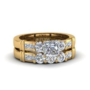 Princess Cut Channel Bar Set Diamond Wedding Ring Sets In 18K Yellow Gold
