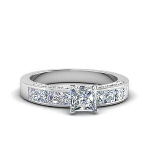 Princess Cut Channel Diamond Engagement Ring In 14K White Gold