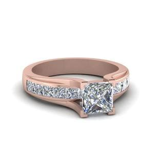 Princess Cut Channel Set Diamond Engagement Ring In 14K Rose Gold