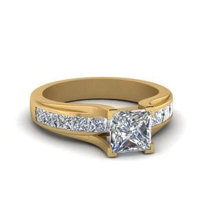Princess Cut Channel Set Diamond Engagement Ring In 18K Yellow Gold