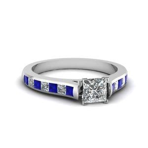 Princess Cut Cathedral Channel Set Diamond Engagement Ring With Sapphire In 14K White Gold