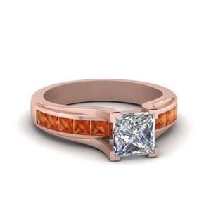 Princess Cut Channel Set Engagement Ring With Orange Sapphire In 18K Rose Gold