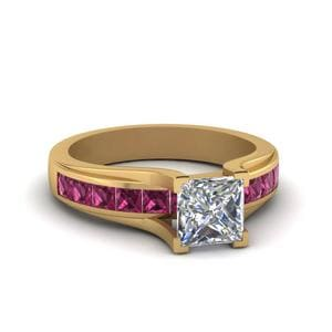 Princess Cut Channel Set Engagement Ring With Pink Sapphire In 14K Yellow Gold