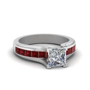 Princess Cut Channel Set Engagement Ring With Ruby In 18K White Gold