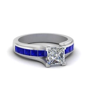 Princess Cut Channel Set Engagement Ring With Sapphire In 14K White Gold