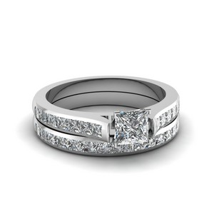 Princess Cut Channel Set Diamond Wedding Ring Sets In 14K White Gold