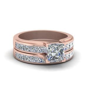Princess Cut Channel Diamond Wedding Set In 14K Rose Gold