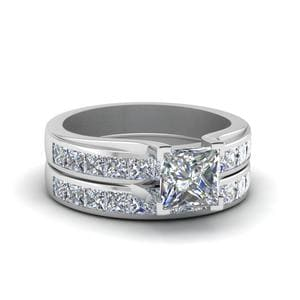 Princess Cut Channel Diamond Wedding Set In 950 Platinum