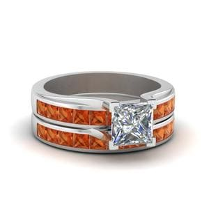 Princess Cut Channel Wedding Set With Orange Sapphire In 18K White Gold