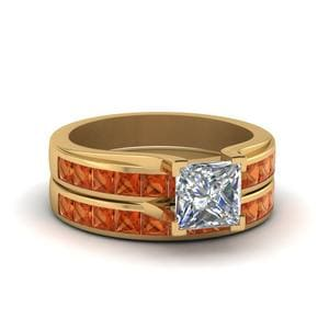 Channel Set Orange Sapphire Wedding Set
