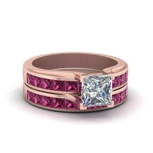 Princess Cut Channel Wedding Set With Pink Sapphire In 18K Rose Gold